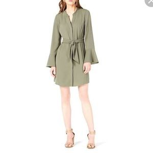 NWOT Bar III olive dress bell sleeve tie front